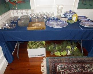 Cambridge elegant glass, Christmas decor, blue willow, lead crystal, Hummel plate