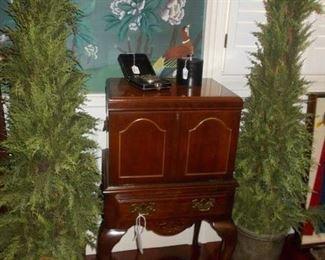 silver chest, decor, silk cedar trees
