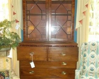 Beautiful 1800's Hepplewhite bookcase secretary, drapes, silk ferns, stands , side chairs