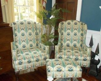 wingback chairs, rug, drapes