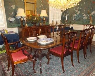 Beautiful Dining room table and 8 chairs, French sideboard, beautiful mirror, lamps, Persian Rug, Silver Candelabras, Blue Willow