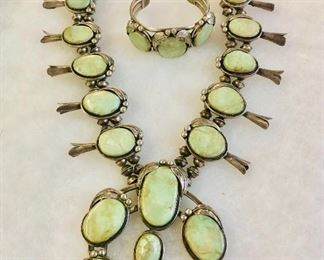 Light Green Turquoise Substantial Size Squash  Blossom and matching bracelet