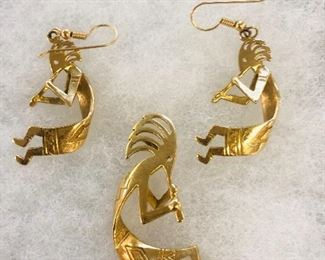 14K Gold Kokopelli Pierced Earrings and Pendant