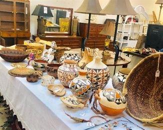 Native American Pottery , Handmade Baskets , Jewelry , Vintage Furniture