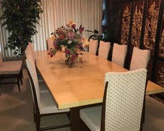 MID-CENTURY MODERN BANQUET DINING TABLE WITH 10 CHAIRS.
