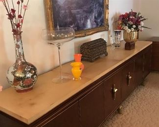 LONG MID-CENTURY MODERN  SERVER WITH THREE DOORS. LOCKING SILVER WARE DRAWERS