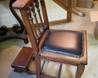 Oak church chair with kneeler