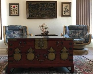 Korean Coffee Table Chest with glass cover