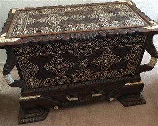 Carved Wood Dowry Chest with Mother of Pearl Inlay