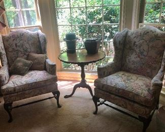Pair 2 HICKORY CHAIR NC Queen Anne Wing Back Armchair