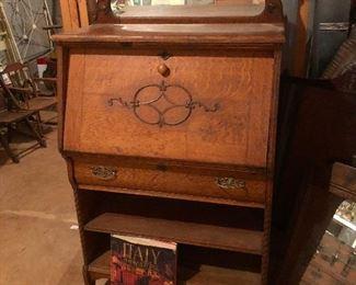 Antique oak drop front desk/cabinet/bookcase with mirror