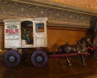 "Vintage Cast Iron ""Fresh Milk"" Horse Drawn Wagon w/ Driver"