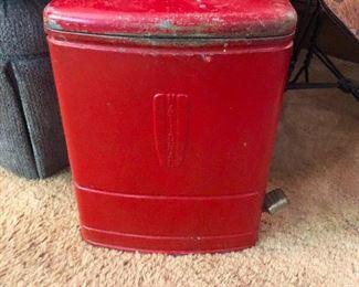 Vintage red metal trash