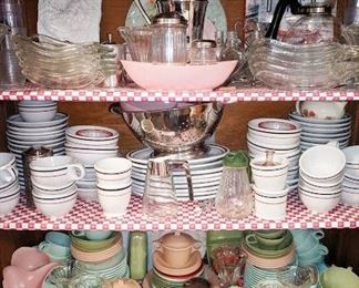 Dishes on middle shelf are actually from a diner during the 50's.