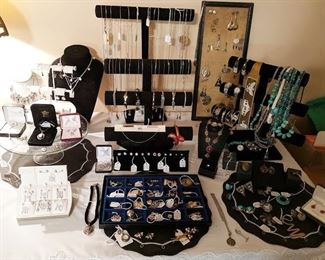Everything in this picture is sterling silver. Lots of turquoise!