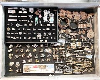 Copper jewelry and cufflinks and tie clips...all vintage.