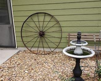 large metal wagon wheel