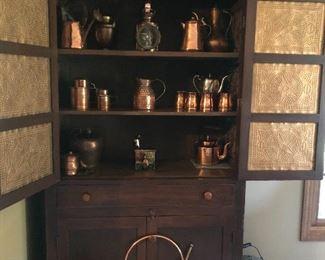 Loads of Copper ware, Great Hutch 73H x 40w x 16d