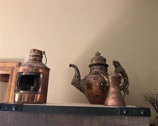 Copper tea pots and Lanterns