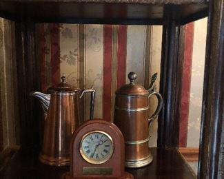 Copper tea pots and coffee pots