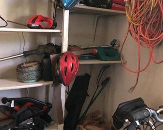 Bicylce helmets, cords, tools