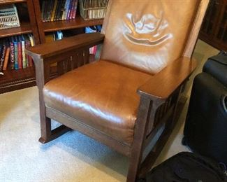 Arts and crafts style rocker in-leather 29w x 37h x 32d