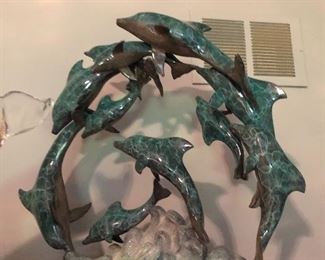 Dolphin sculpture signed