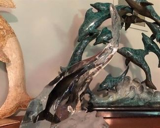 Dolphin and Whale sculpture signed