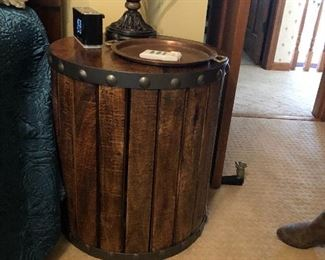 Barrel style night stand/side table