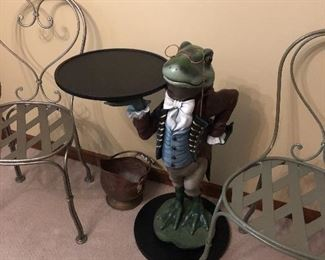 Frog Butler Table with 2 metal bistro chairs