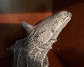 Whale figurine made of volcanic ash