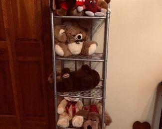 Stuffed toys, Plush toys, Metal shelving unit