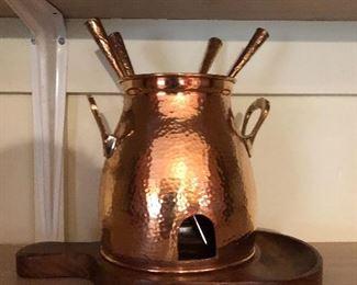 Copper fondue pot