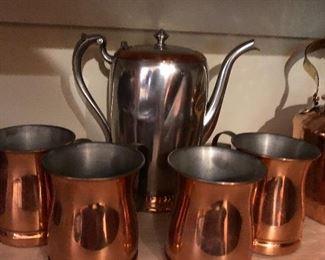 Herbe Matte service Pot and 4 copper cups