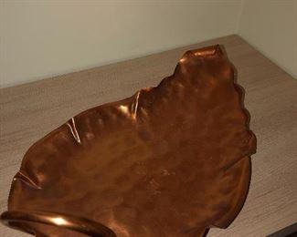 Copper leaf serving platter