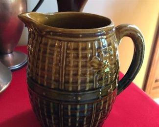 Antique Majolica Basket weave milk/water pitcher