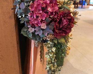 Copper Vase with large floral arrangement