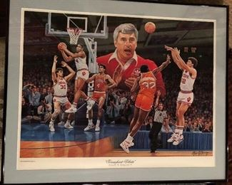 """Indiana Coach Bobby Knight signed and Numbered 847/1987,    """"Triumphant Tribute"""" Indiana Win over Syracuse 74-73"""