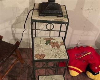 Nesting Garden tables Metal and Painted Tile