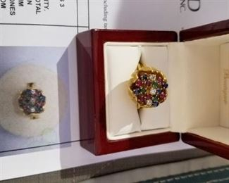 Gold diamond saphire,ruby ring