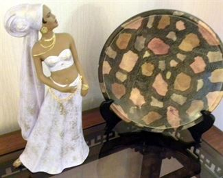 African Figure & Plate