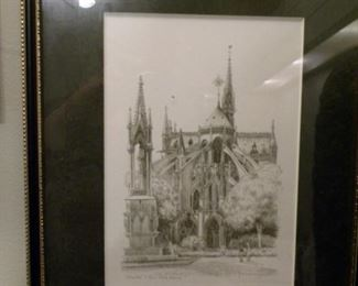 Notre Dame Etching - Signed