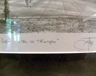 Signed L' Arc De Triumph Etching