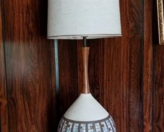Mosaic Tile, ceramic and wood MCM lamp, approx 4' tall