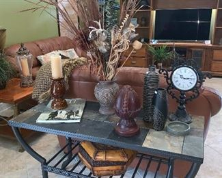Stone top sofa table