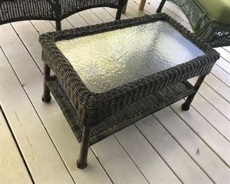 Glass Top Resin Wicker Coffee Table  $ 38.00