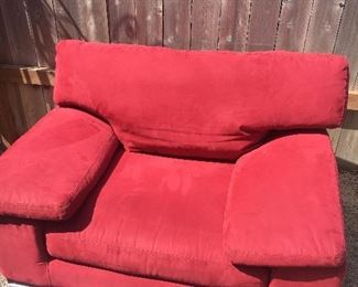 Oversized comfy red lounge chair