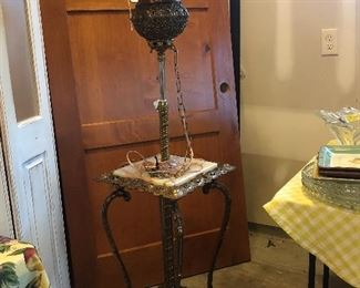 Beautiful antique brass and marble table lamp