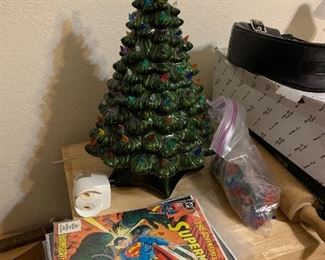 ceramic Christmas tree and comics
