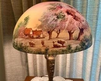 antique lamp with hand painted glass shade